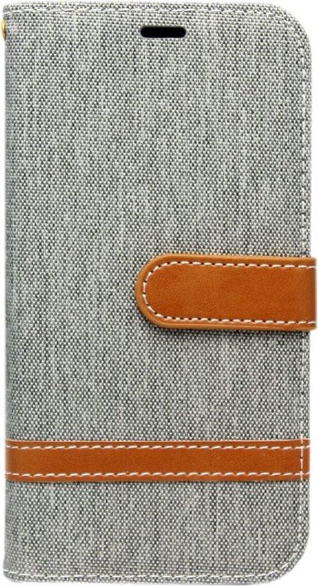 ADEL Kunstleren Book Case Portemonnee Pasjes Hoesje voor Samsung Galaxy S8 Plus - Stoffen Design Grijs