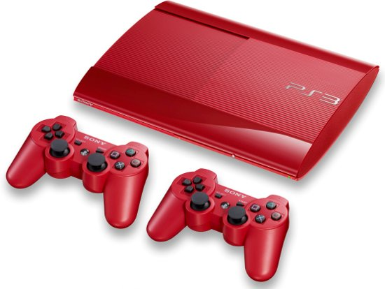 Sony PlayStation 3 Console 500GB Super Slim + 2 Wireless Dualshock 3 Controllers - Rood PS3