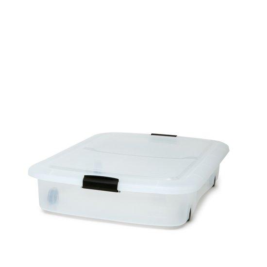IRIS Clearbox onder-het-bed Opbergbox - 60 l - Kunststof - Transparant met zwarte wieltjes