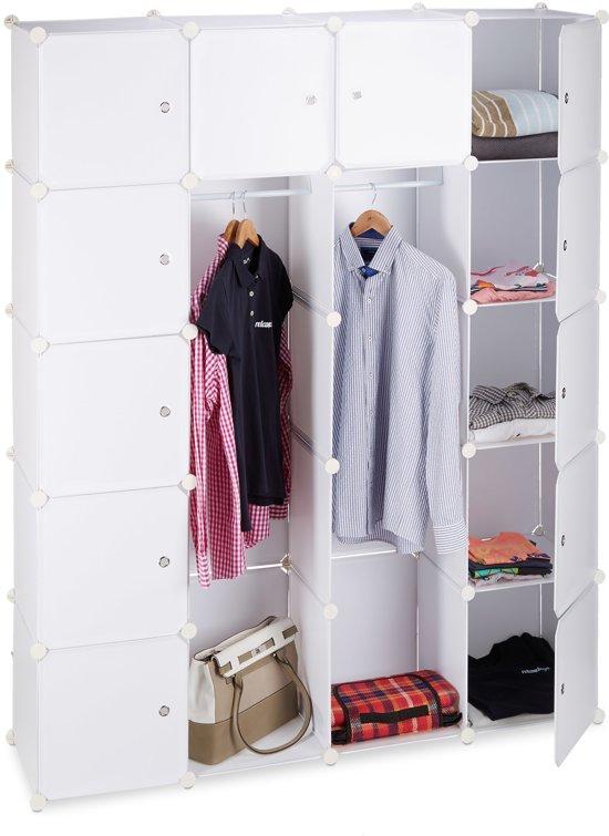 Relaxdays Kledingkast Kliksysteem 14 Vakken Garderobekast Hoge Kast Kunststof Wit
