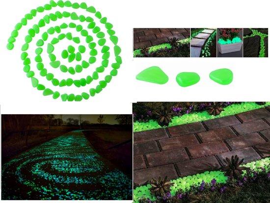 Glow In the Dark Decoratie Steentjes / Lichtgevende Tuin Aquarium Stenen - Kiezelstenen - 100 Stuks Groen