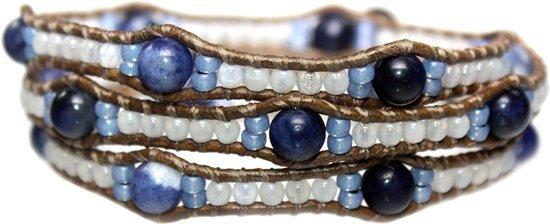 Bela Donaco Wikkelarmband Blue Jeans – Sodaliet, Opaal en old schoolleer