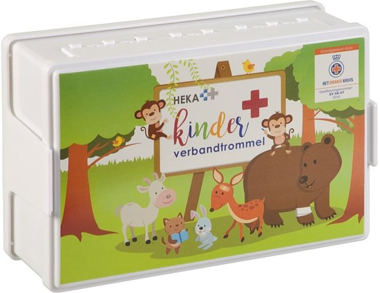 EHBO Kinder verbandtrommel - Oranje Kruis goedgekeurd. De enige verbanddoos met deze erkenning!