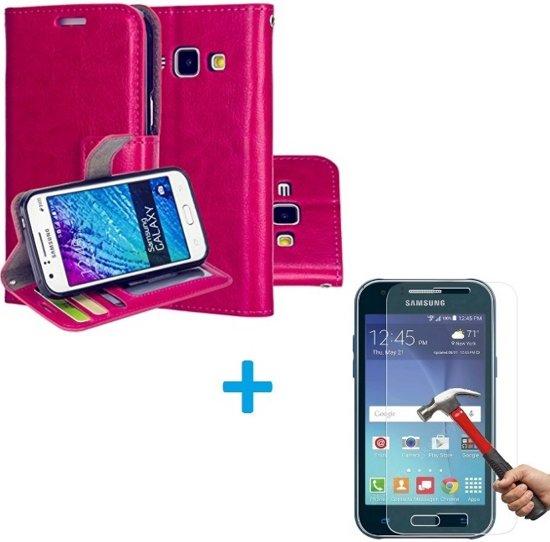 Samsung Galaxy J1 2015 Portemonnee hoes roze met Tempered Glas Screen protector
