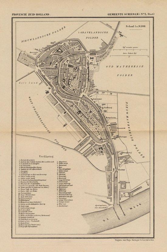 Bol Com Historische Kaart Plattegrond Van De Stad Schiedam Door