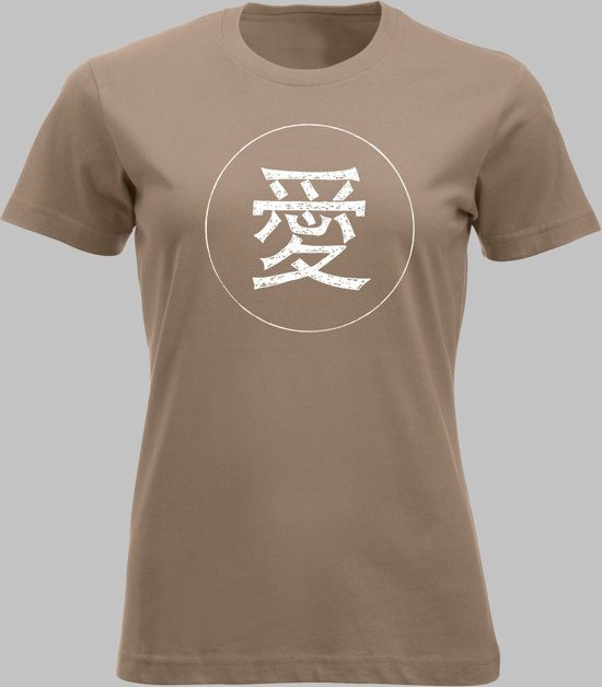 T-shirt V Chinese teken voor liefde in wit - Cafelatte - V - XL Sportshirt