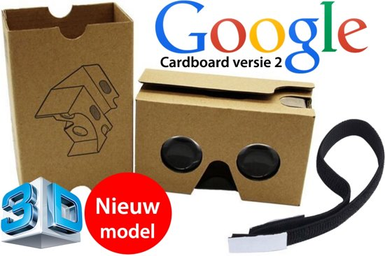 De nieuwste versie van de (Google) cardboard V2 inclusief hoofdband - Virtual reality 3D bril!