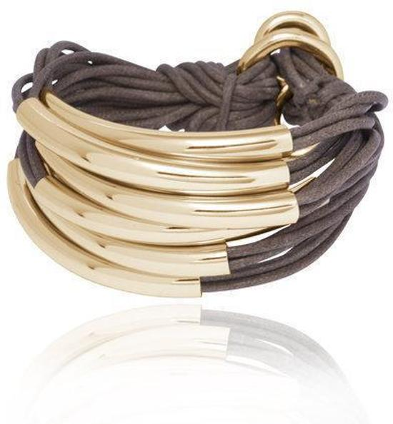 TOV Essentials Big Lots Of Cord Tube armband - leer en messing - champagne - 18 tot 20 cm