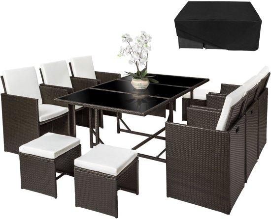 Wicker Eettafel Set Met 8 Stoelen En 4 Krukken Zwart.Bol Com Tectake Wicker Tuinset Tuinset Met 6 Stoelen Tafel