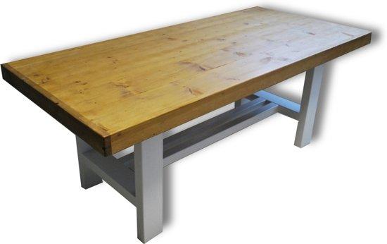 6 Persoons Tafel : Bol tafel figo persoons eettafel bruin wit
