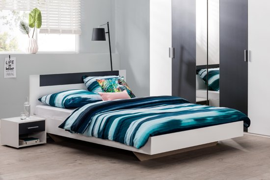 bol.com | Beddenreus complete slaapkamer Minnesota + kast 225 cm breed