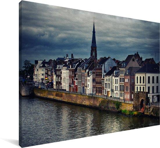 Skyline van de huizen in Maastricht Canvas 30x20 cm - klein - Foto print op Canvas schilderij (Wanddecoratie woonkamer / slaapkamer) / Europese steden Canvas Schilderijen