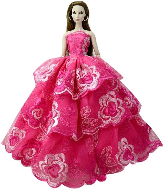 Barbiepop trouwjurk- Bruidsjurk- Prinsessenjurk voor barbiepop - Roze lange jurk - Barbiekleding- Galajurk- Bellasupplies