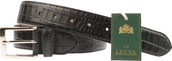 Zwarte Leren Herenriem met Croco print - Maat: 115 cm