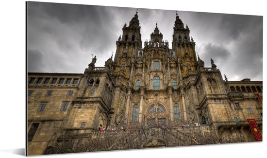 Voorkant met sierlijke ruiten van Santiago de Compostella Aluminium 160x80 cm - Foto print op Aluminium (metaal wanddecoratie)