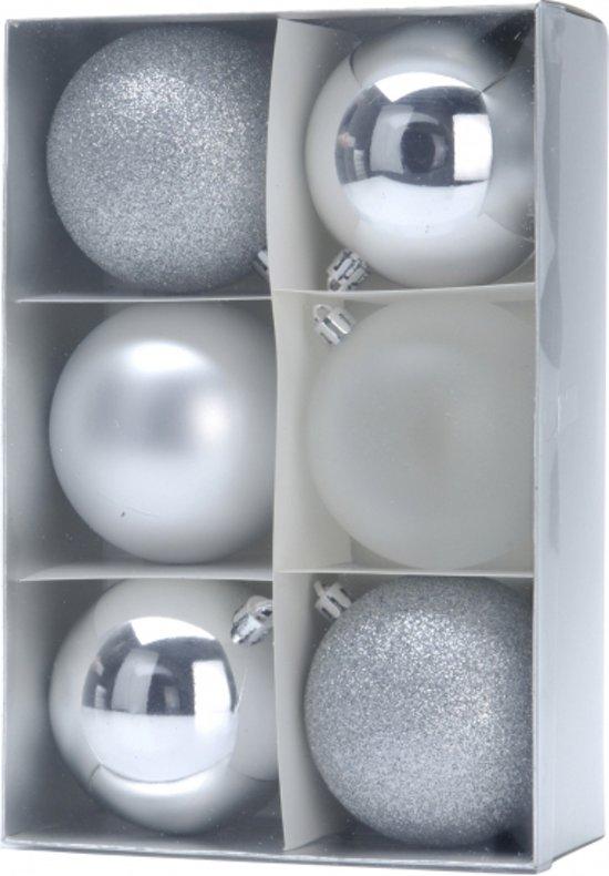 6 zilveren kerstballen 8 cm - kerstversiering zilver
