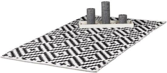 Super bol.com   relaxdays vloerkleed katoen - antislip kleed - zwart-wit QH-59