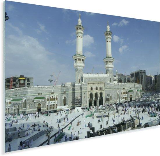 Vooraanzicht van de eeuwenoude Kaäba moskee in Saoedi-Arabië Plexiglas 160x120 cm - Foto print op Glas (Plexiglas wanddecoratie) XXL / Groot formaat!