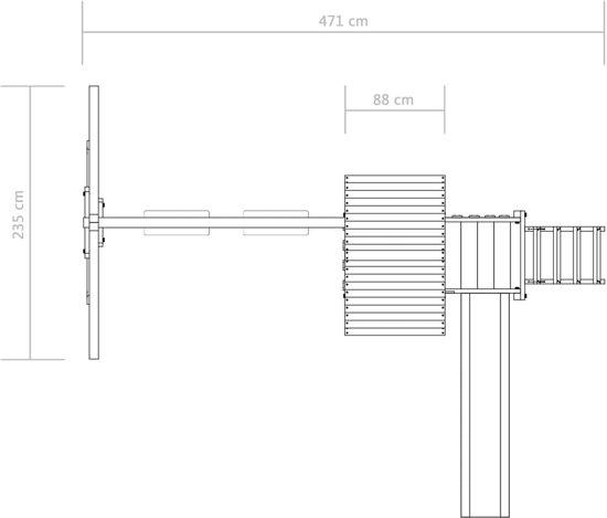 vidaXL Speelhuis ladder, glijbaan en schommels 471x356x265 cm FSC hout