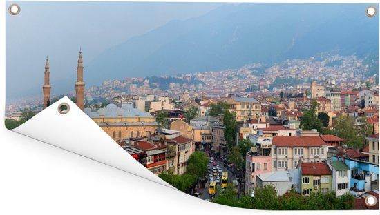 Panorama van de eeuwenoude stad Bursa in Turkije Tuinposter 80x40 cm - klein - Tuindoek / Buitencanvas / Schilderijen voor buiten (tuin decoratie)