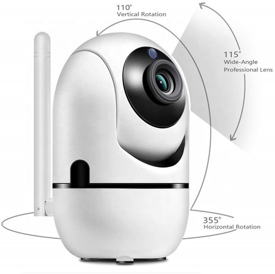 Goede kwaliteit WiFi Security Camera, Nachtvisie, Two-Way Audio, iOS App Besturing, Cloud Storage