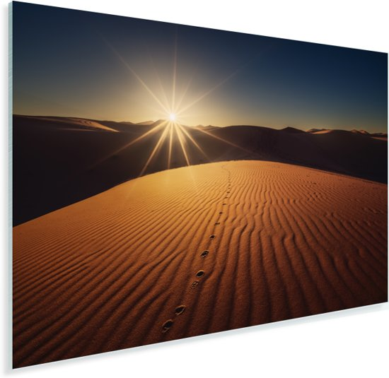Zandduinen bij het Afrikaanse woestijngebied in Marokko Plexiglas 90x60 cm - Foto print op Glas (Plexiglas wanddecoratie)