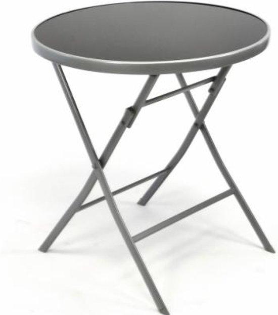 Metalen Bistro Tafeltje.Bistro Tafel Bijzettafel 70 Cm Met Glasplaat