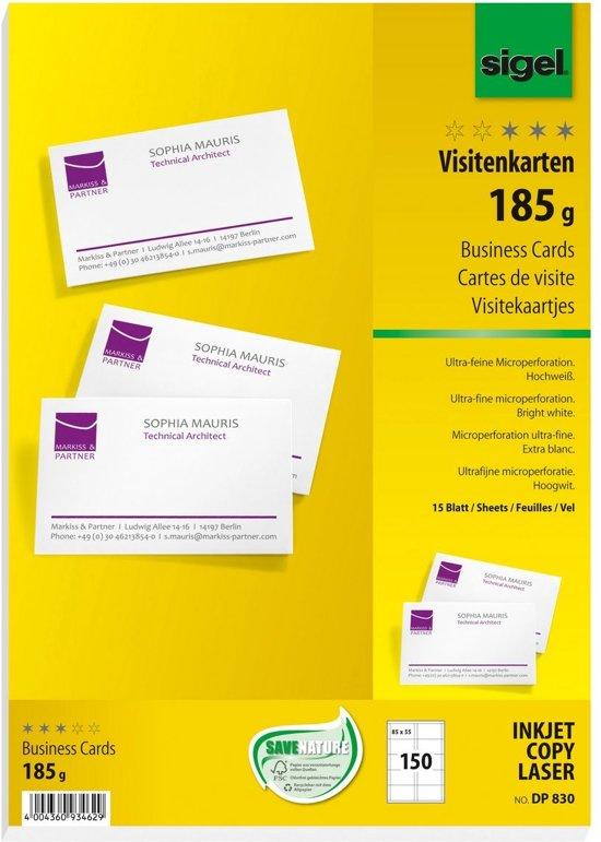 visitekaartjes Sigel 185grs pak a 150 stuks wit