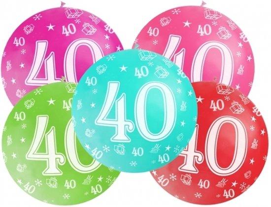 Mega ballon 40 jaar - Transparant - 40ste verjaardag ballonnen