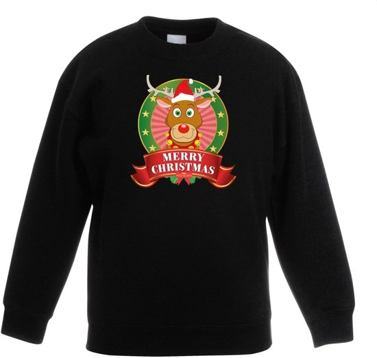 Zwarte Kersttrui.Bol Com Zwarte Kersttrui Met Rudolf Het Rendier Jongens En Meisjes