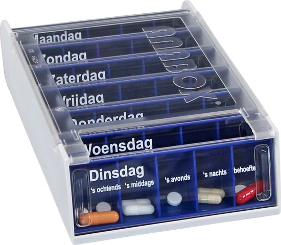 Medicijndoos Voor Een Week.Medicijndoos Voor 7 Dagen Anabox Blauw