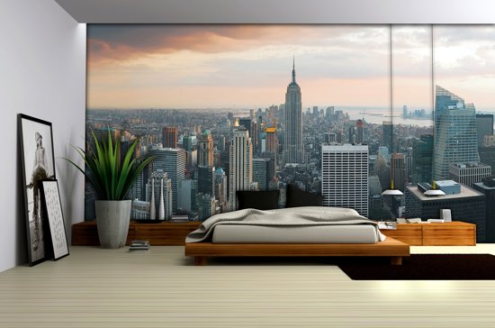 Foto Behang New York.Bol Com Fotobehang New York Skyline 254x368 Cm Bxh 4 Rollen