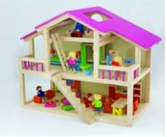 Groot poppenhuis pintoy pintoy speelgoed for Groot poppenhuis