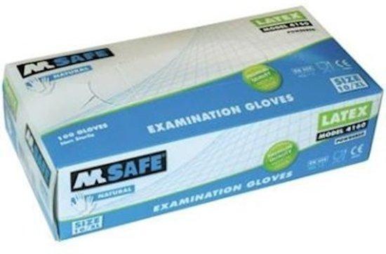 Latex wegwerphandschoen gepoederd M-Safe 4160 naturel maat 9/L