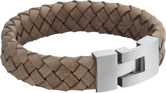 The Jewelry Collection For Men Armband Leer 15 mm 21,5 cm - Staal