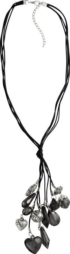 Behave Lange Ketting Grijs Zwart met Hart en Druppel en Ronde Hangers 63 cm