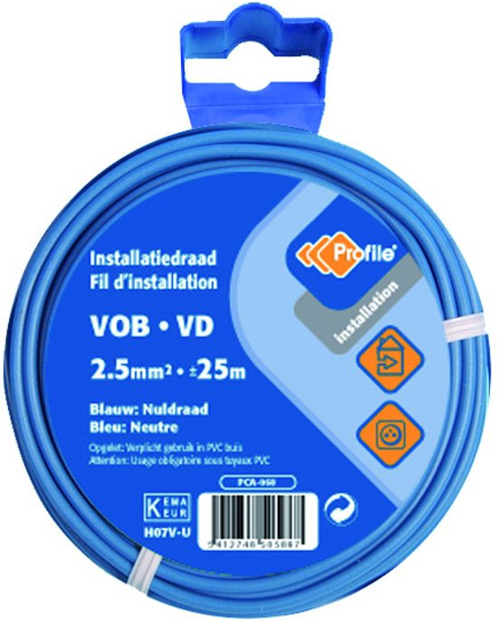 PROFILE installatiedraad VOB (België) VD (Nederland) - 2,5mm² - blauw - 25 meter