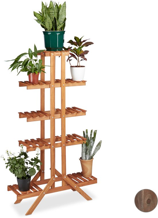 Zeer bol.com | relaxdays - plantenrek hoog - plantentrap van hout AX62