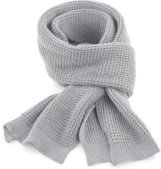 bol | senvi klassieke wafel gebreide sjaal kleur grijs