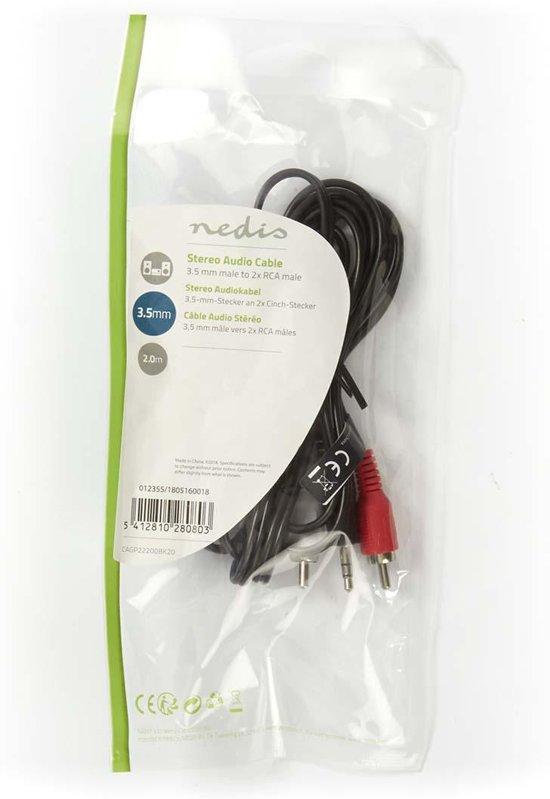 Nedis 3,5 mm naar RCA Kabel 2 Meter Zwart
