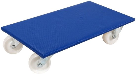 Sterk Meubelhondje 60x35 cm. blauw dek, kunststof wiel 100 mm