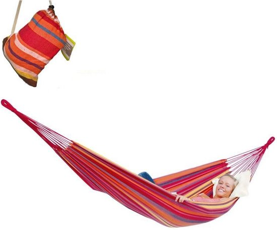 Hangmat 260 x 78 cm - 1 Persoons - Inclusief Opbergtas - Rood Multicolor