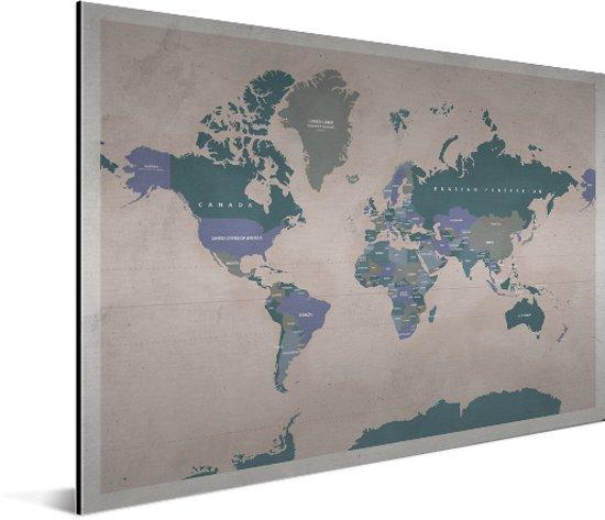 Vintage Wereldkaart Aluminium Oud Roze 40x30 cm | Wereldkaart Wanddecoratie Aluminium