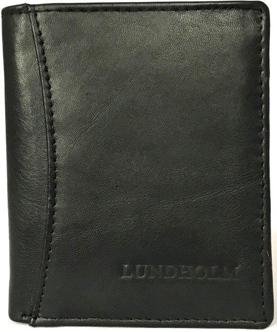 56c54b16365 Lundholm - Leren portemonnee heren - compact model met RFID anti skim -  Zwart