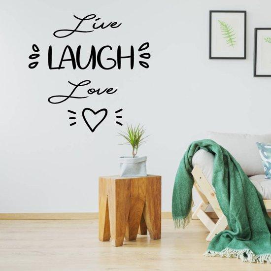 Muursticker Live Laugh Love Hartje -  Zwart -  120 x 120 cm  - Muursticker4Sale