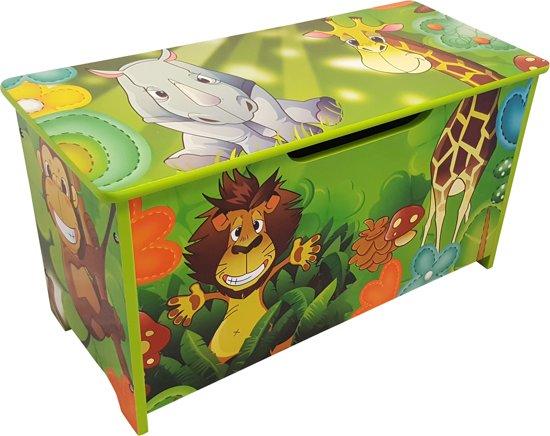 Playwood - Houten gekleurde speelgoedkist Jungle - Opbergkist