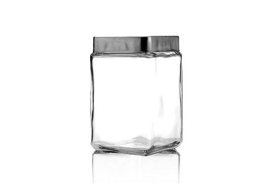 Anchor Hocking Stapelbare glazen voorraadpotten met aluminium deksel, 1,5 L