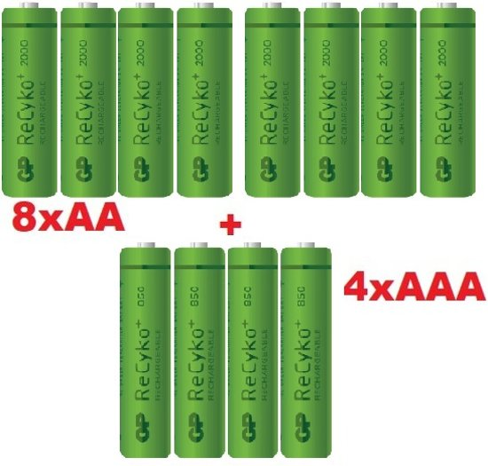 GP 8x AA + 4x AAA ReCyko+ Oplaadbare Batterijen - 12 stuks