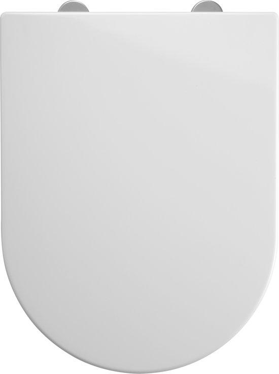 Allibert wc-bril RAINBOW - D-vorm - thermodure - soft close - inox scharnieren - afklikbaar - wit