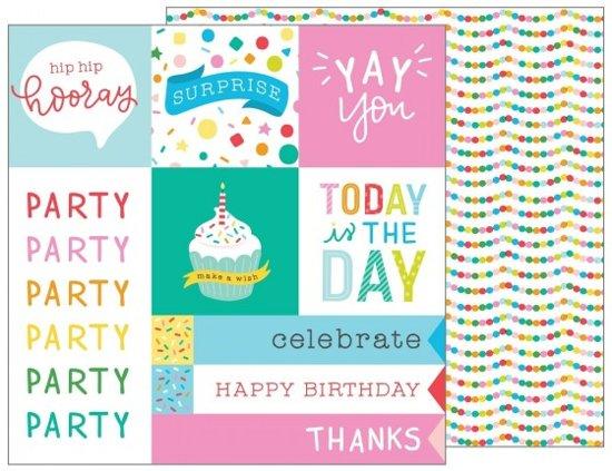 """Scrapbook papier - Pebbles patterned paper happy hooray 12x12"""" party time - 25 stuk"""